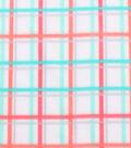 Blizzard Fleece Fabric -Coral Mint Plaid