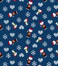 Peanuts Christmas Knit Fabric-Blue