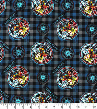 Captain Marvel Flannel Fabric-Sketched on Plaid