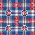 Chicago Cubs Fleece Fabric -Plaid