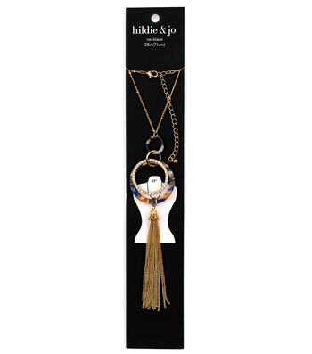 hildie & jo 28'' Acrylic & Metal Hoops with Tassel Necklace