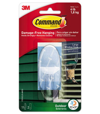 Command Outdoor Large Window Hook-Clear
