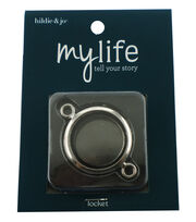 hildie & jo My Life Round Silver Double Attach Locket-Clear Glass, , hi-res