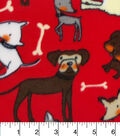 Anti-Pill Fleece Fabric -Sketched Pups On Red