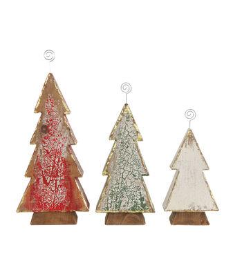 3R Studios Christmas 3 pk Wood Tree Photo/Card Holders