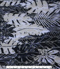 Coastal Lagoon Cotton Eyelet Apparel Fabric-Palm Leaves on Navy