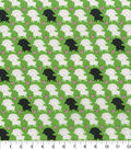 Novelty Cotton Fabric-Black & White Sheep on Green