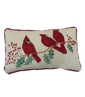 Maker's Holiday Christmas Lumbar Pillow-Cardinals
