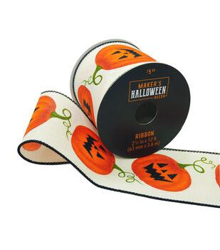 Maker's Halloween Decor Ribbon 2.5''x12'-Jack-o'-lanterns on White