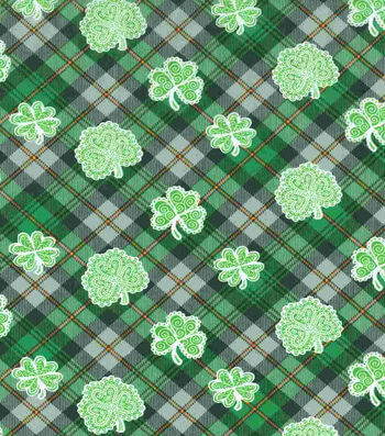 St. Patrick's Day Fabric 43''-Celtic Shamrock Plaid