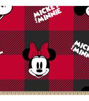 Disney Minnie Mickey Fleece Fabric-Head Toss Buffalo Plaid, , hi-res