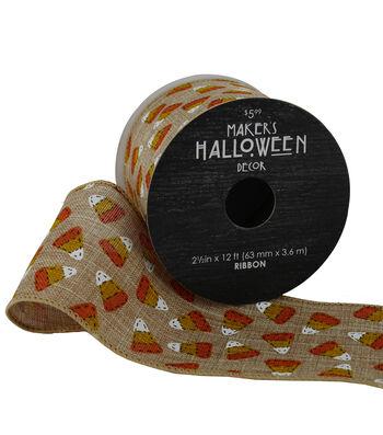 Maker's Halloween Ribbon 2.5'' x 12'-Candy Corns on Natural