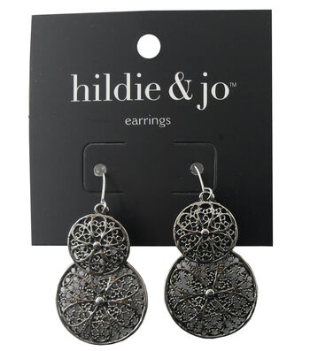 hildie & jo Circle Antique Silver Earrings
