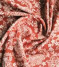 Stretch Crepe Knit Fabric 58\u0022-Rust & Ivory Ornate Floral