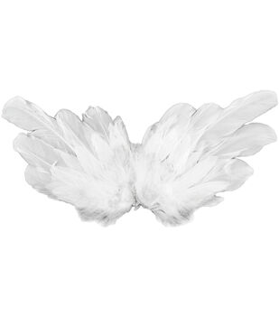 """Feather Angel Wings 15"""" Span-White"""
