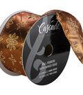 Cascade Fall Textured Metallic Ribbon 2.5\u0022x15 yds-Gold & Copper
