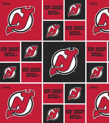 New Jersey Devils Cotton Fabric 43''-Block