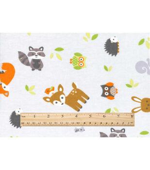 Nursery Flannel Fabric -Woodland Grey Animals