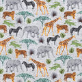 Snuggle Flannel Fabric-Safari Animals