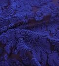 Velvet Scroll Burnout Fabric 58\u0022-Mazarine Blue