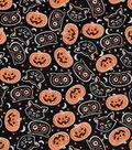 Halloween Cotton Fabric-Tossed Cat Heads on Black