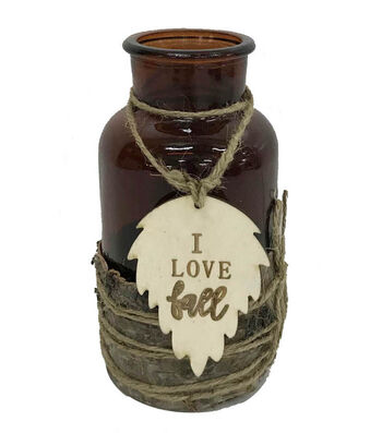 Blooming Autumn Glass Container with Laser Cut Leaf Tag-I Love Fall