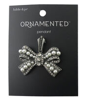 hildie & jo Ornamented Bow Antique Silver Pendant-Crystal & Pearl, , hi-res