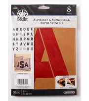 FolkArt 30 pk 8'' Alphabet & Monogram Paper Stencils-Bold Font, , hi-res