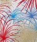 Patriotic Cotton Fabric 43\u0027\u0027-Metallic Fireworks on Rustic
