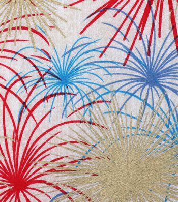 Patriotic Cotton Fabric 43''-Metallic Fireworks on Rustic