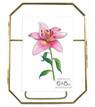 Octagonal Pressed Glass Float Picture Frame 6''x8''-Brass
