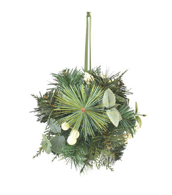 Blooming Holiday Christmas 7'' White Berry & Eucalyptus Kissing Ball