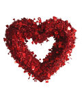 Valentine\u0027s Day Decor Large Heart Shaped Tinsel Wreath-Red