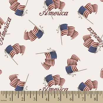 Patriotic American Flag Print Fabric