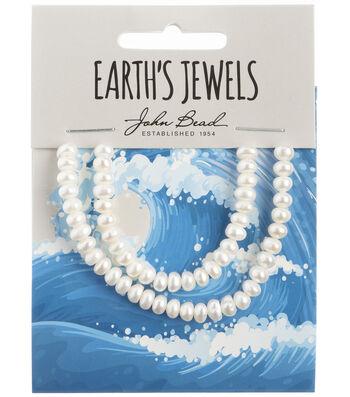 John Bead Earth's Jewels Freshwater Pearls Semi Round-White 4-5mm