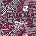Texas A&M University Aggies Cotton Fabric-Pop Art