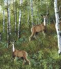 Snuggle Flannel Fabric 42\u0027\u0027-Realistic Deer in Woods