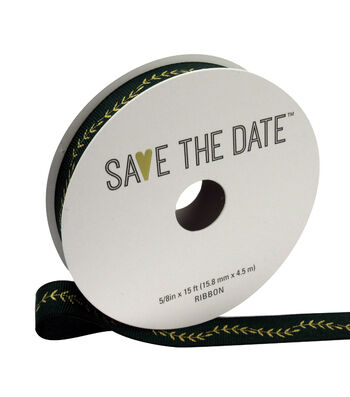 """Save the Date 5/8"""" x 15ft Ribbon-Gold Fern On Hunter"""
