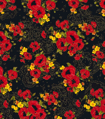 Premium Cotton Fabric 44''-Poppy Bouquets