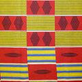 Global Cotton Shirting Fabric-Yellow & Red Blocks