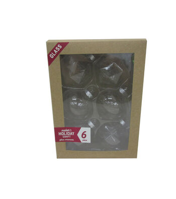 Maker's Holiday Craft 6pc Glass Ornaments-Mixed Clear