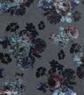 Faux Suede Fabric-Foil Floral on Gray