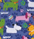 Snuggle Flannel Fabric 42\u0022-Bright Pups On Purple