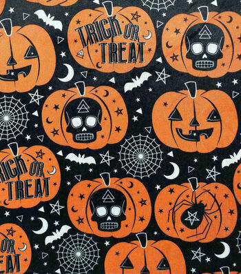 """The Witching Hour Halloween Velvet Fabric 57""""-Foil Trick Or Treat"""