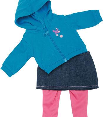 Springfield Boutique Teal Hoodie, Denim Skirt & Pink Pants