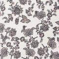 Anti-Pill Plush Fleece Fabric-Neutral Floral on White