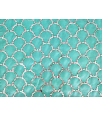 Glitterbug Sequin Fabric 31''-Silver Scallop on Light Turquoise
