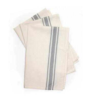 Stitch 'Em Up 3 Pack 18''x28'' Retro Towels-Gray Stripe
