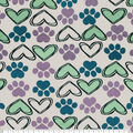 Super Snuggle Flannel Fabric-I Heart Paw Sketched
