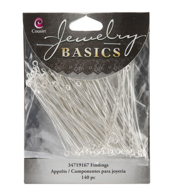 Jewelry Basics Eye Pins 140/Pkg-Bright Silver